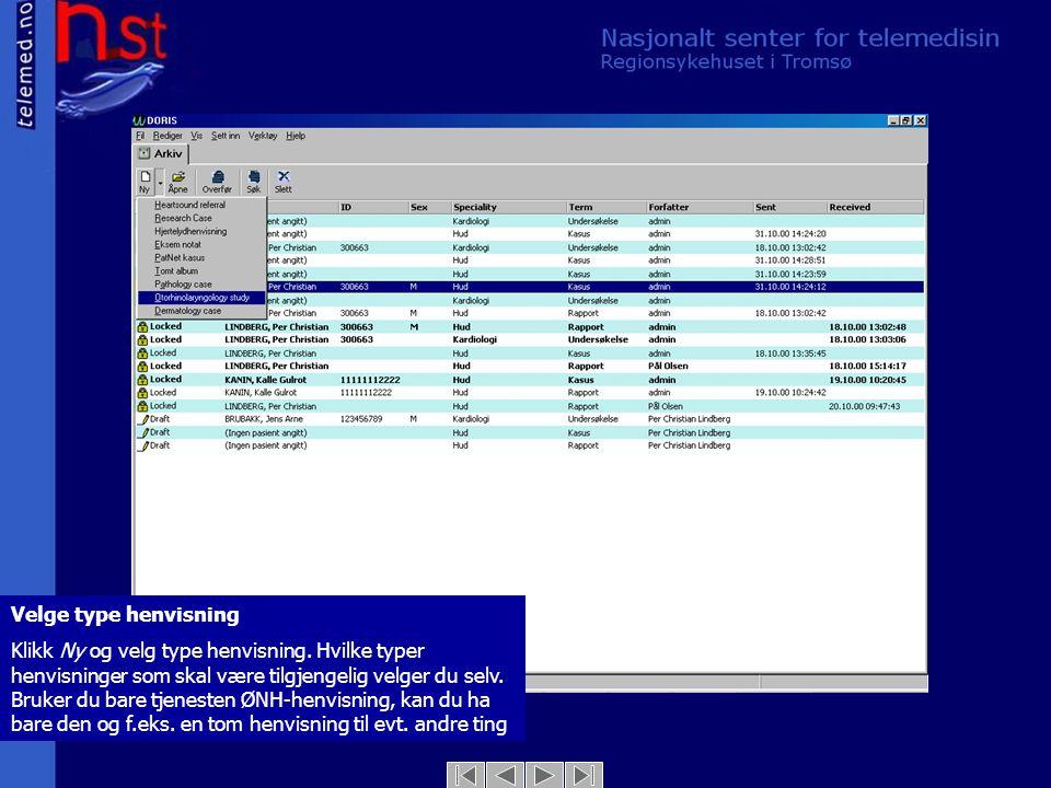 Tekstarket – side 1 (mal for ØNH-henvisning) Bildet viser en forhåndsdefinert mal for ØNH-henvisning.