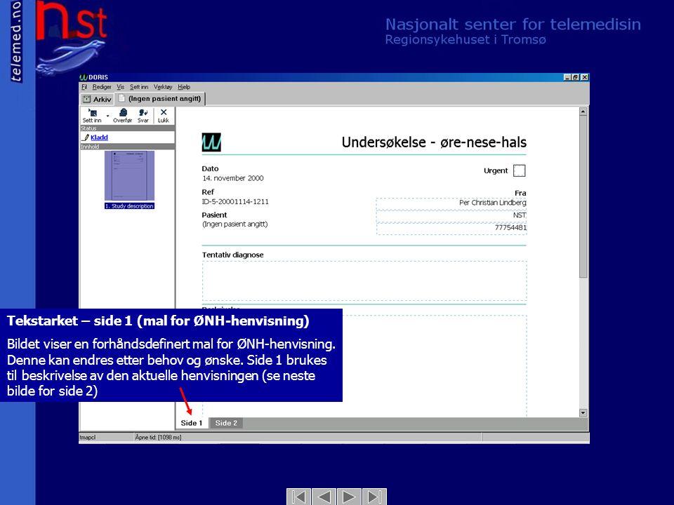 Tekstarket – side 2 (mal for ØNH-henvisning) Bildet viser side 2 av tekstarket.