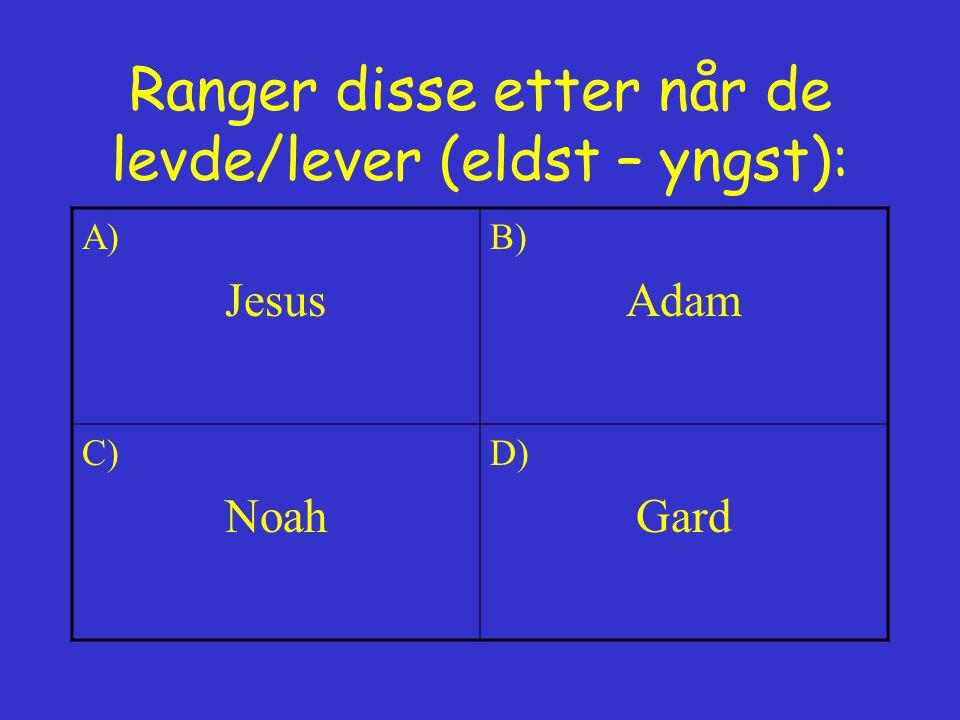 Hvor vokste Jesus opp? A) Nasaret B) Betlehem C) Jerusalem D) Stavanger