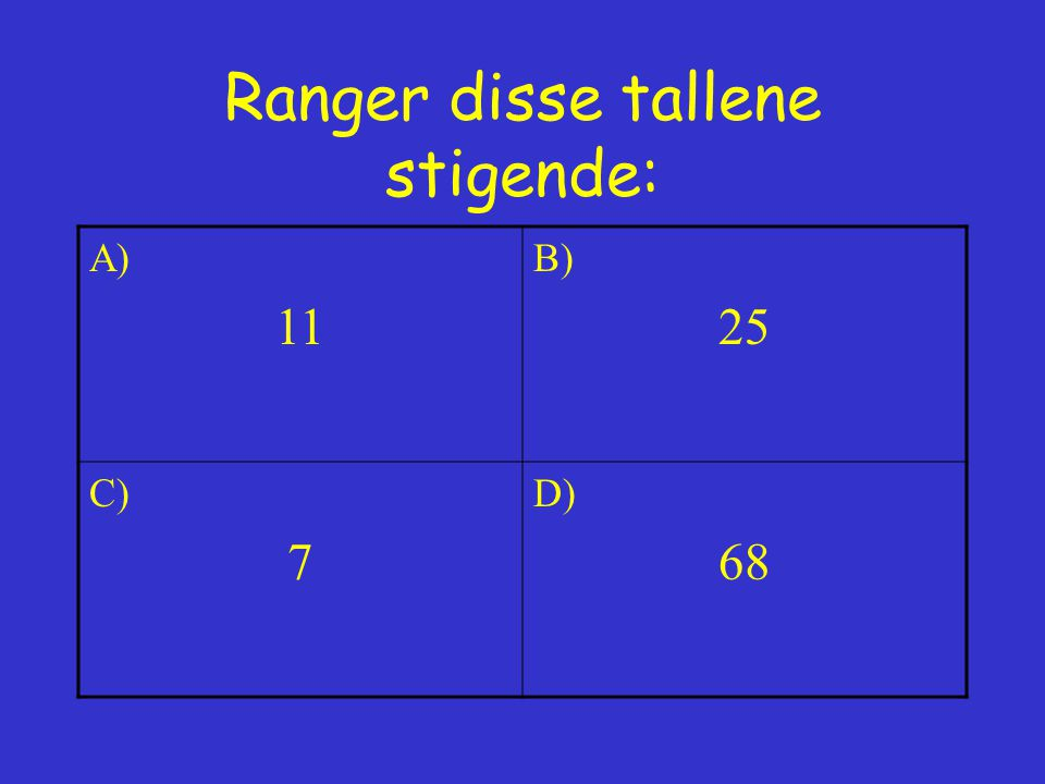 Ranger disse tallene stigende: A) 11 B) 25 C) 7 D) 68