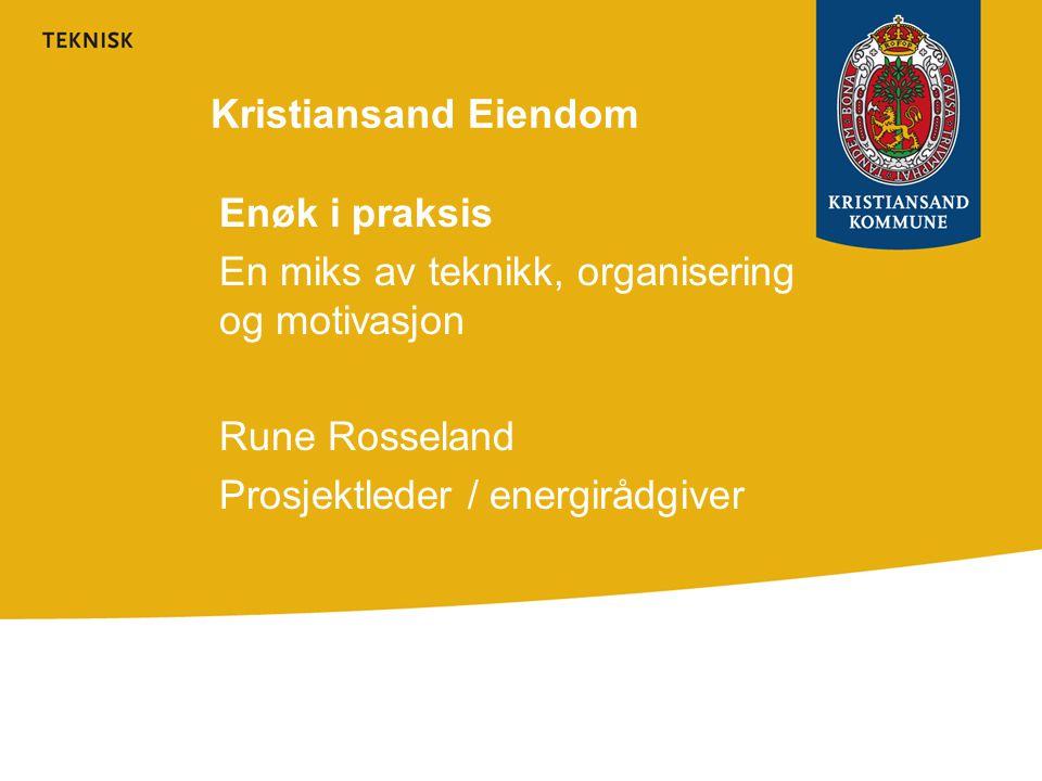 Omfang av KE sitt energiprogram •De 60 største byggene til Kristiansand Eiendom •Skoler, helsebygg og administrasjon •Totalt 238.000 kvm oppvarmet areal ( snitt 4000 kvm ) •Totalt forbruk i 2006 ca 40 Gwh •Ca 24 mill i årlige energikostnader ( Ved 60 øre kwh ) •Varighet 4 år