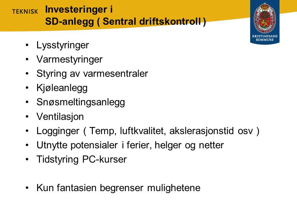 Investeringer i SD-anlegg ( Sentral driftskontroll ) •Lysstyringer •Varmestyringer •Styring av varmesentraler •Kjøleanlegg •Snøsmeltingsanlegg •Ventil