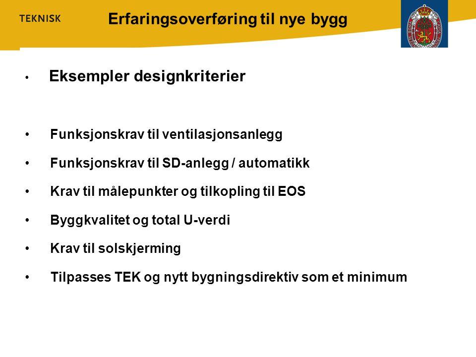 Erfaringsoverføring til nye bygg • Eksempler designkriterier • Funksjonskrav til ventilasjonsanlegg • Funksjonskrav til SD-anlegg / automatikk • Krav