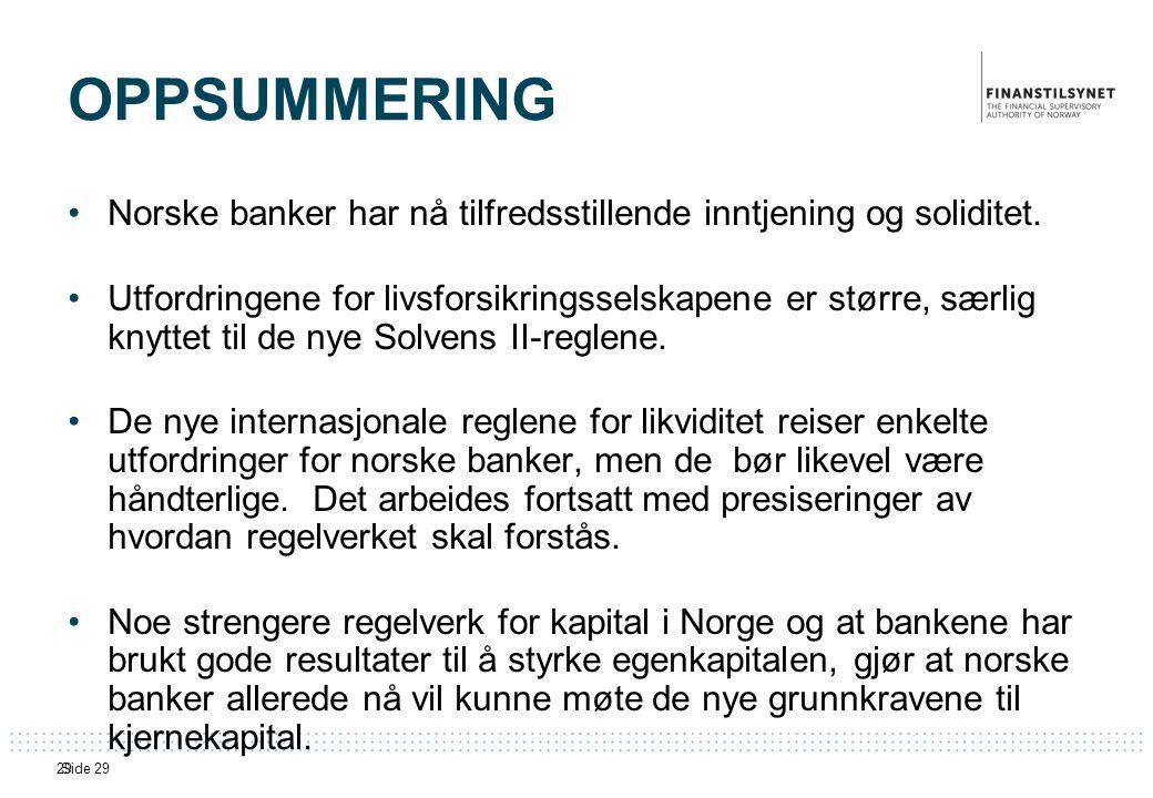 Side 2929 OPPSUMMERING •Norske banker har nå tilfredsstillende inntjening og soliditet.