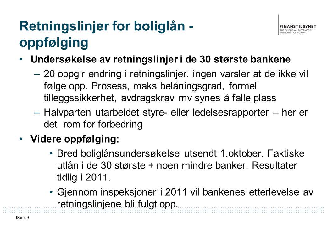 Side 99 Retningslinjer for boliglån - oppfølging •Undersøkelse av retningslinjer i de 30 største bankene –20 oppgir endring i retningslinjer, ingen varsler at de ikke vil følge opp.