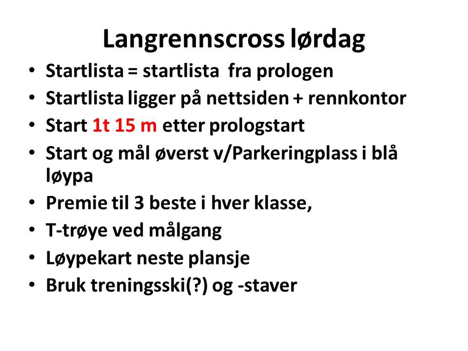 Langrennscross lørdag • Startlista = startlista fra prologen • Startlista ligger på nettsiden + rennkontor • Start 1t 15 m etter prologstart • Start o