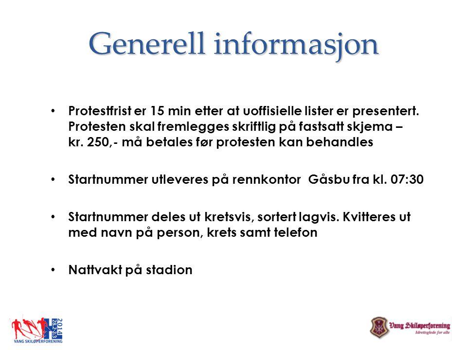 Generell informasjon • Protestfrist er 15 min etter at uoffisielle lister er presentert. Protesten skal fremlegges skriftlig på fastsatt skjema – kr.