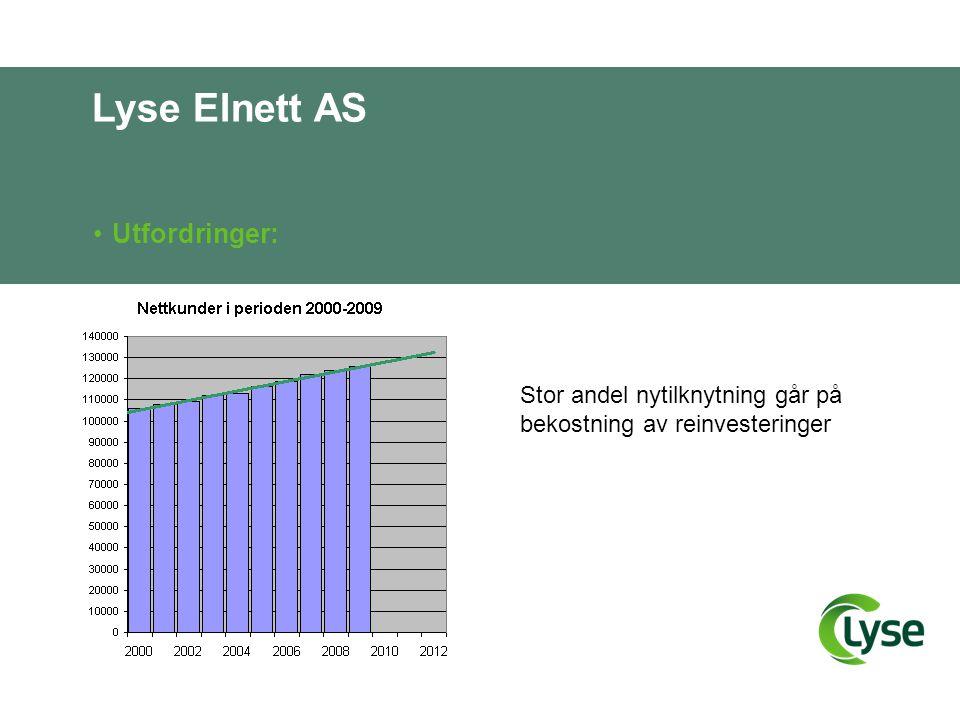 Lyse Elnett AS •Utfordringer: Stor andel nytilknytning går på bekostning av reinvesteringer
