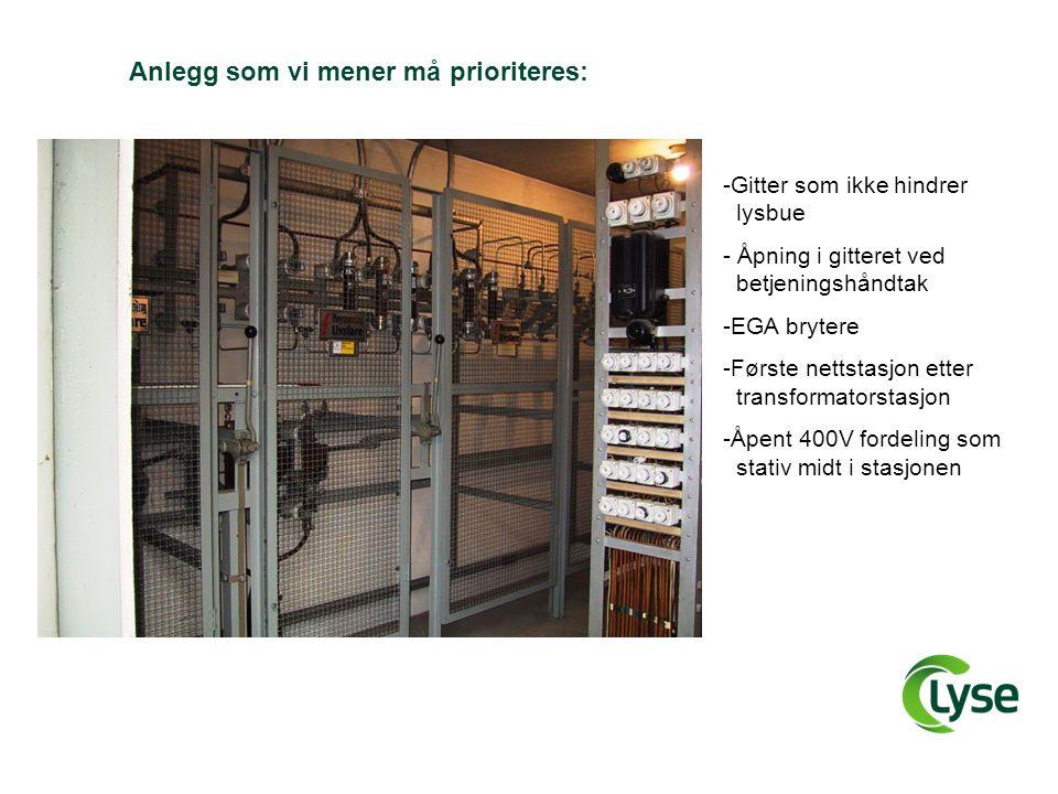 Anlegg som vi mener må prioriteres: -Gitter som ikke hindrer _lysbue - Åpning i gitteret ved _betjeningshåndtak -EGA brytere -Første nettstasjon etter _transformatorstasjon -Åpent 400V fordeling som _stativ midt i stasjonen
