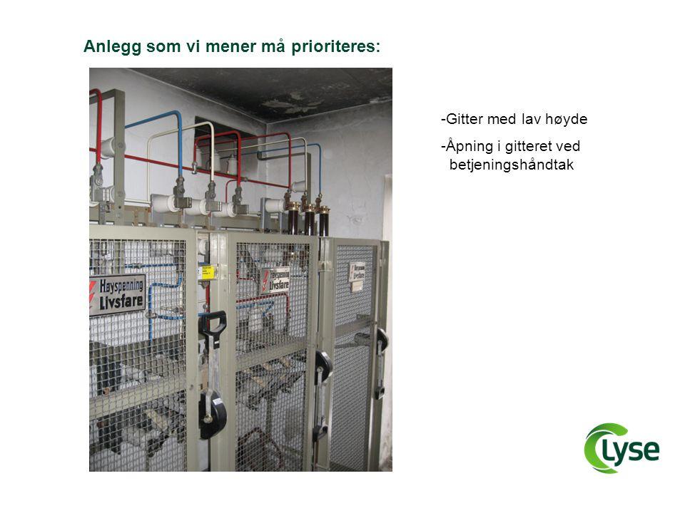 Anlegg som vi mener må prioriteres: -Gitter med lav høyde -Åpning i gitteret ved _betjeningshåndtak