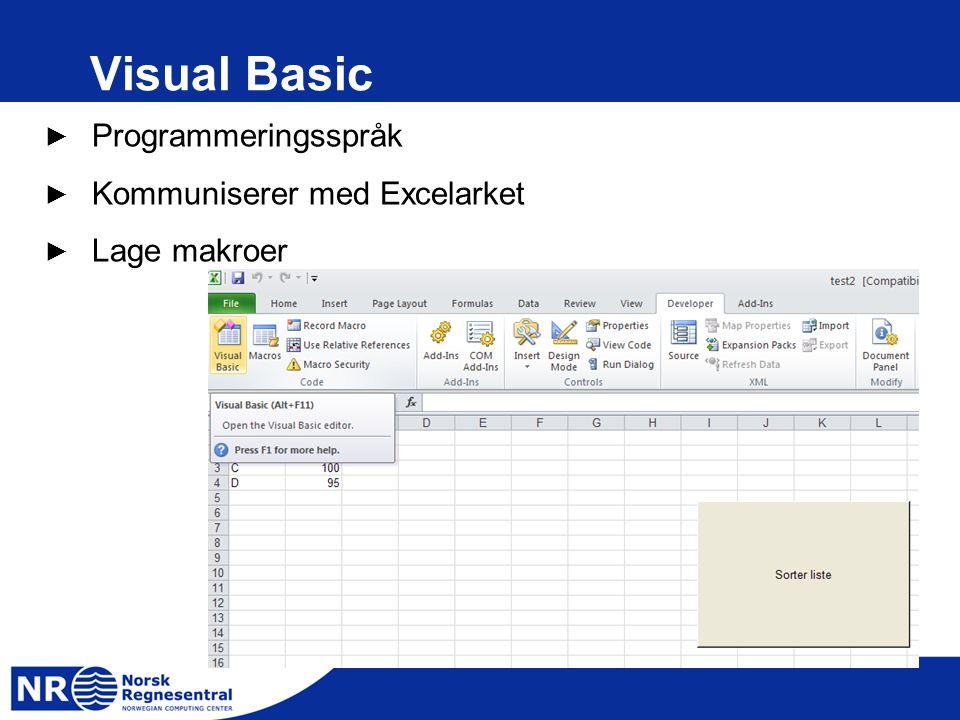 Visual Basic ► Programmeringsspråk ► Kommuniserer med Excelarket ► Lage makroer