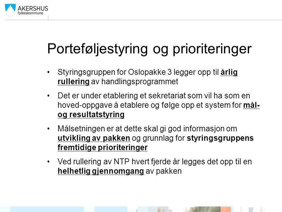 Porteføljestyring og prioriteringer •Styringsgruppen for Oslopakke 3 legger opp til årlig rullering av handlingsprogrammet •Det er under etablering et