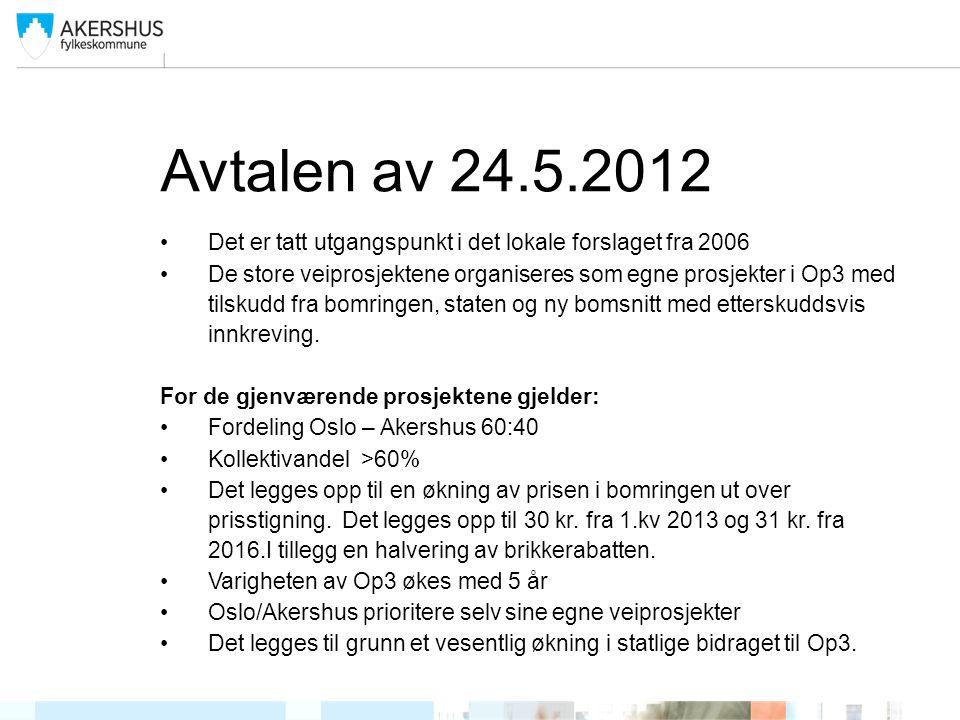 Avtalen av 24.5.2012 •Det er tatt utgangspunkt i det lokale forslaget fra 2006 •De store veiprosjektene organiseres som egne prosjekter i Op3 med tils