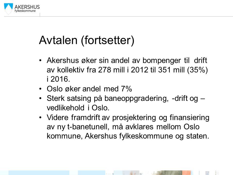 Avtalen (fortsetter) •Akershus øker sin andel av bompenger til drift av kollektiv fra 278 mill i 2012 til 351 mill (35%) i 2016. •Oslo øker andel med