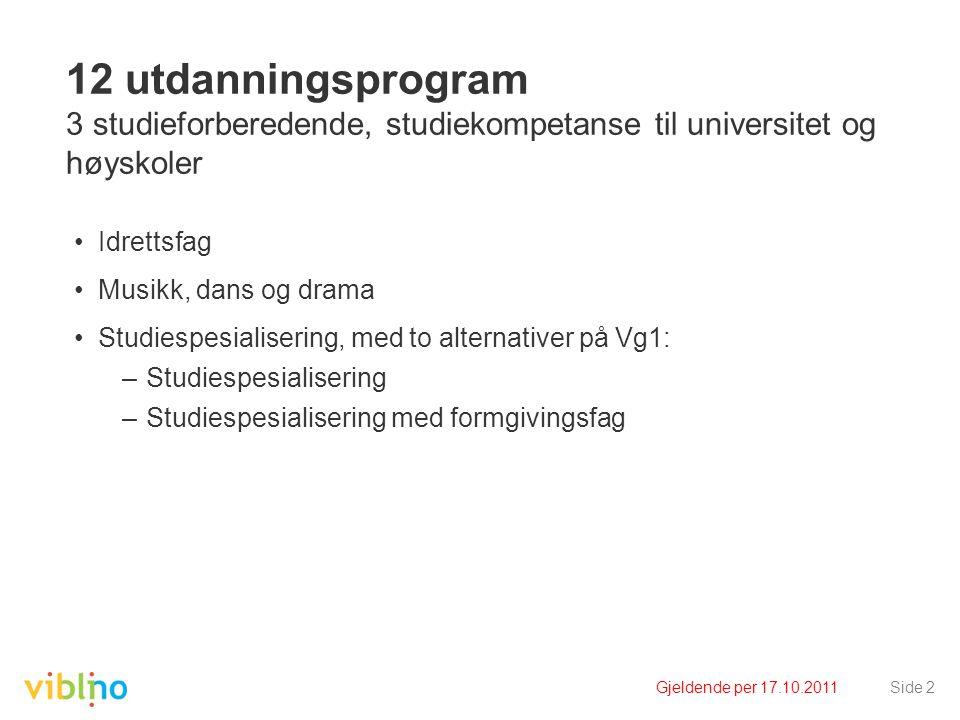 Gjeldende per 17.10.2011Side 2 12 utdanningsprogram 3 studieforberedende, studiekompetanse til universitet og høyskoler •Idrettsfag •Musikk, dans og d