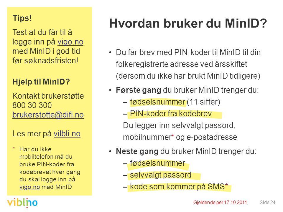 Gjeldende per 17.10.2011Side 24 Hvordan bruker du MinID? •Du får brev med PIN-koder til MinID til din folkeregistrerte adresse ved årsskiftet (dersom
