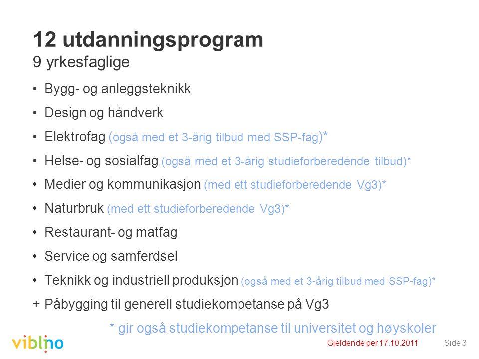 Gjeldende per 17.10.2011Side 3 12 utdanningsprogram 9 yrkesfaglige •Bygg- og anleggsteknikk •Design og håndverk •Elektrofag ( også med et 3-årig tilbu