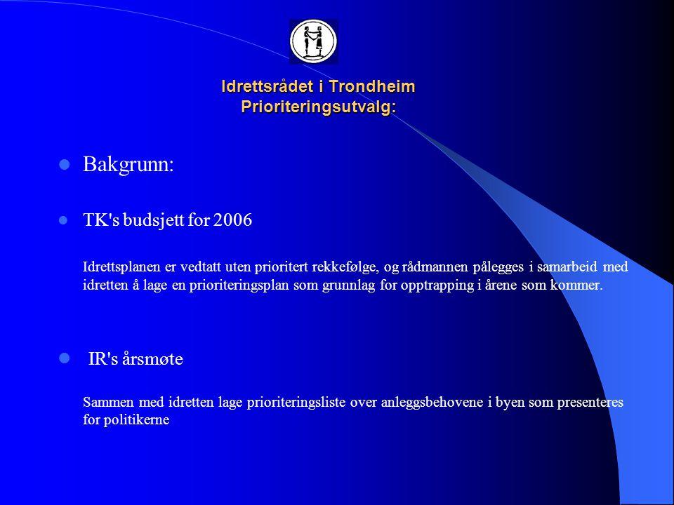 Idrettsrådet i Trondheim Prioriteringsutvalg:  Regional prosess: STIK fikk i januar et oppdrag av ordfører Rita Ottervik om en felles prioritering av de store idrettsanleggene i Trondheim i framtida, sett i et regionalt perspektiv.