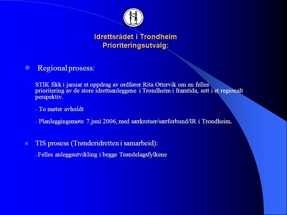 Idrettsrådet i Trondheim Prioriteringsutvalg:  Prioritering i dag: Lokal prioritering TK (Idrettsrådet høringsinstans) STFK endelig prioritering  Prioritering i morgen?.