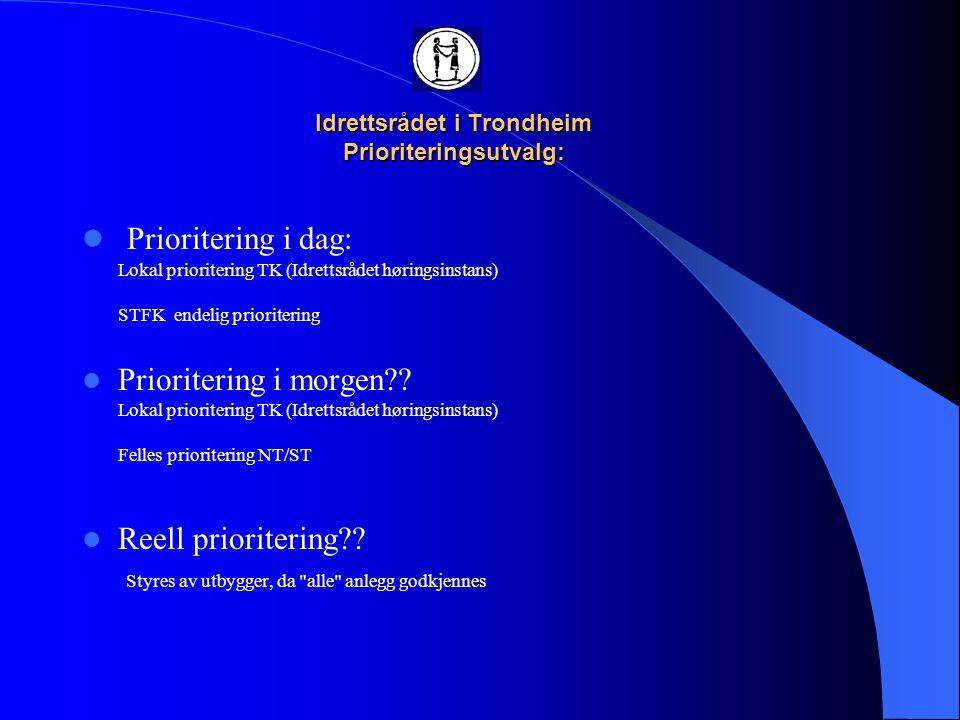 Idrettsrådet i Trondheim Prioriteringsutvalg:  Faser Fase 1, first 13.