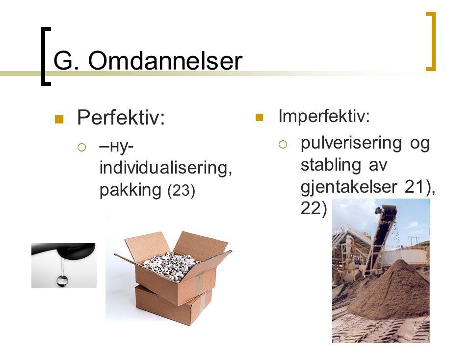G. Omdannelser  Perfektiv:  –ну- individualisering, pakking (23)  Imperfektiv:  pulverisering og stabling av gjentakelser 21), 22)