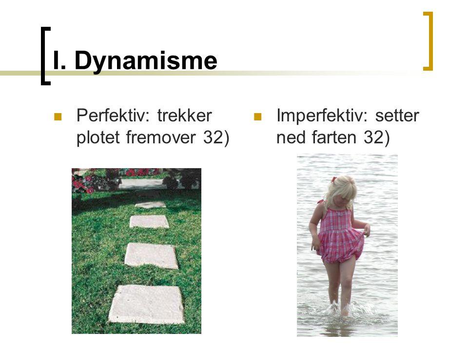 I. Dynamisme  Perfektiv: trekker plotet fremover 32)  Imperfektiv: setter ned farten 32)