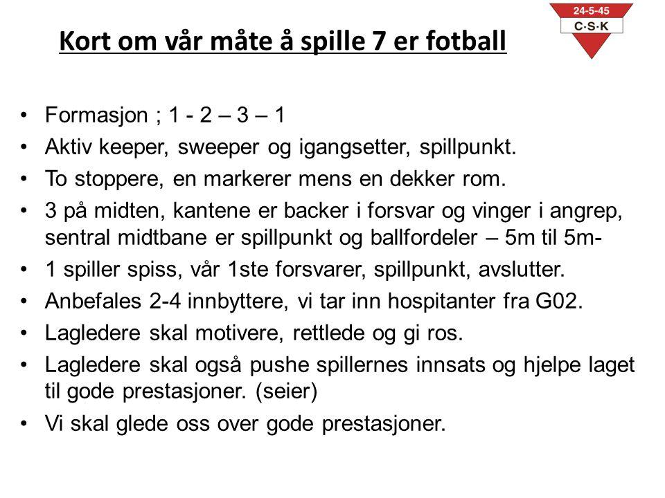 Kort om vår måte å spille 7 er fotball •Formasjon ; 1 - 2 – 3 – 1 •Aktiv keeper, sweeper og igangsetter, spillpunkt.