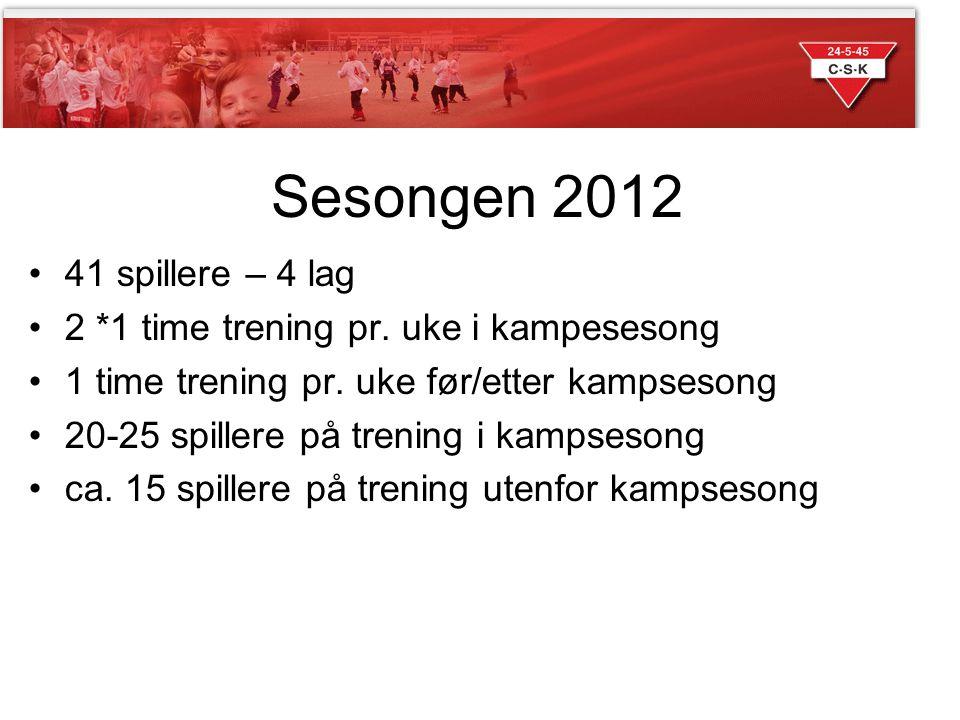 Sesongen 2012 •41 spillere – 4 lag •2 *1 time trening pr.
