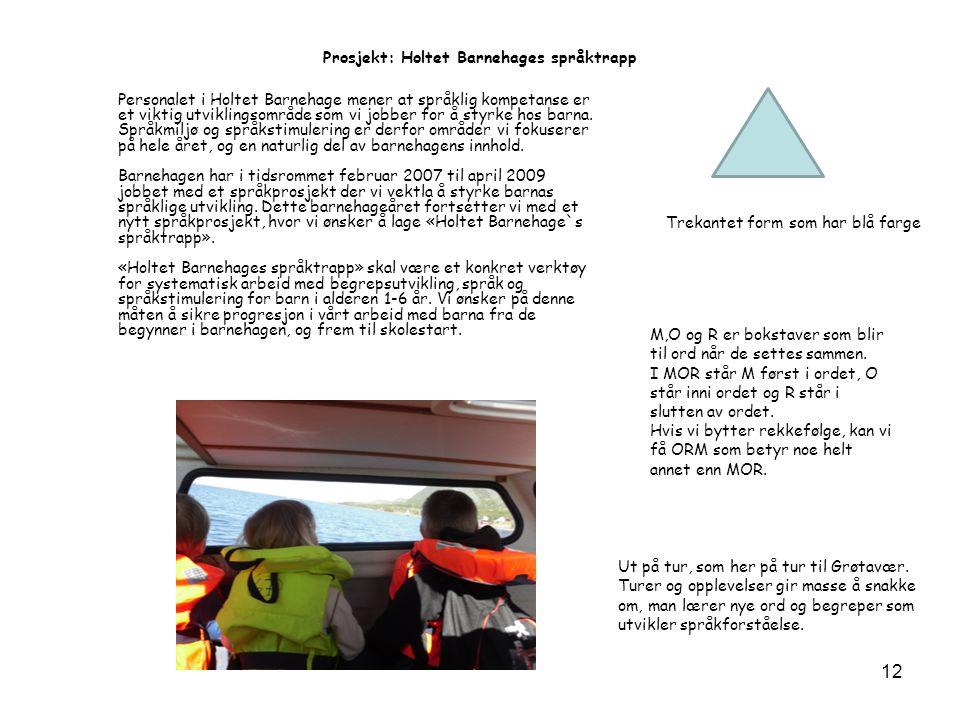 Prosjekt: Holtet Barnehages språktrapp Personalet i Holtet Barnehage mener at språklig kompetanse er et viktig utviklingsområde som vi jobber for å styrke hos barna.