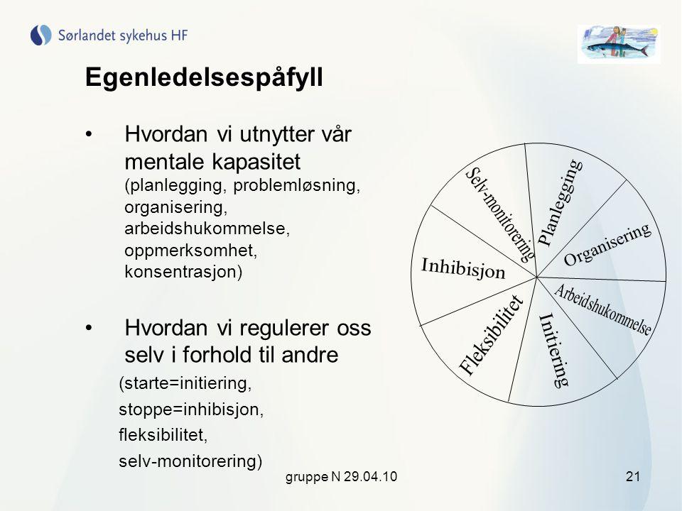 gruppe N 29.04.1021 Egenledelsespåfyll •Hvordan vi utnytter vår mentale kapasitet (planlegging, problemløsning, organisering, arbeidshukommelse, oppme