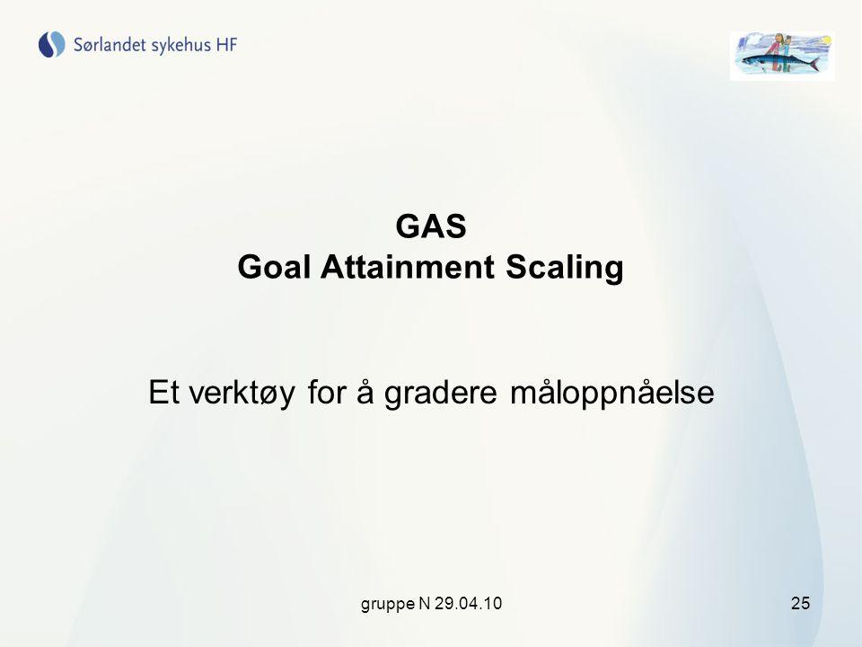 gruppe N 29.04.1025 GAS Goal Attainment Scaling Et verktøy for å gradere måloppnåelse