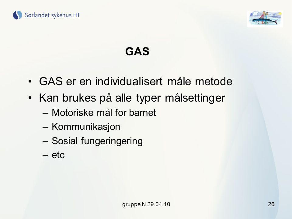gruppe N 29.04.1026 GAS •GAS er en individualisert måle metode •Kan brukes på alle typer målsettinger –Motoriske mål for barnet –Kommunikasjon –Sosial