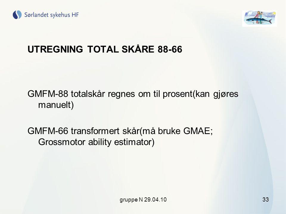 gruppe N 29.04.1033 UTREGNING TOTAL SKÅRE 88-66 GMFM-88 totalskår regnes om til prosent(kan gjøres manuelt) GMFM-66 transformert skår(må bruke GMAE; G