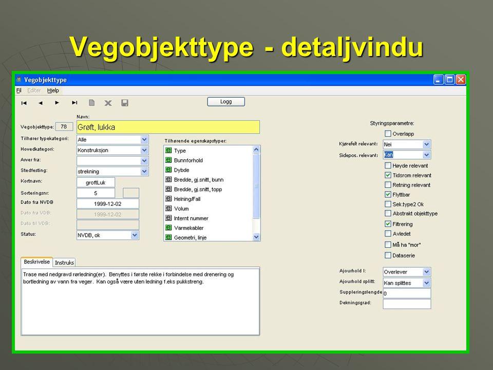 Vegobjekttype - detaljvindu