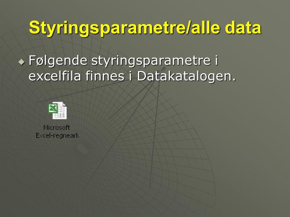 Styringsparametre/alle data  Følgende styringsparametre i excelfila finnes i Datakatalogen.