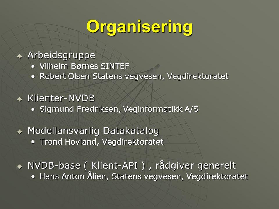 Organisering  Arbeidsgruppe •Vilhelm Børnes SINTEF •Robert Olsen Statens vegvesen, Vegdirektoratet  Klienter-NVDB •Sigmund Fredriksen, Veginformatik