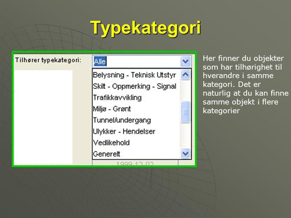 Typekategori Her finner du objekter som har tilhørighet til hverandre i samme kategori. Det er naturlig at du kan finne samme objekt i flere kategorie