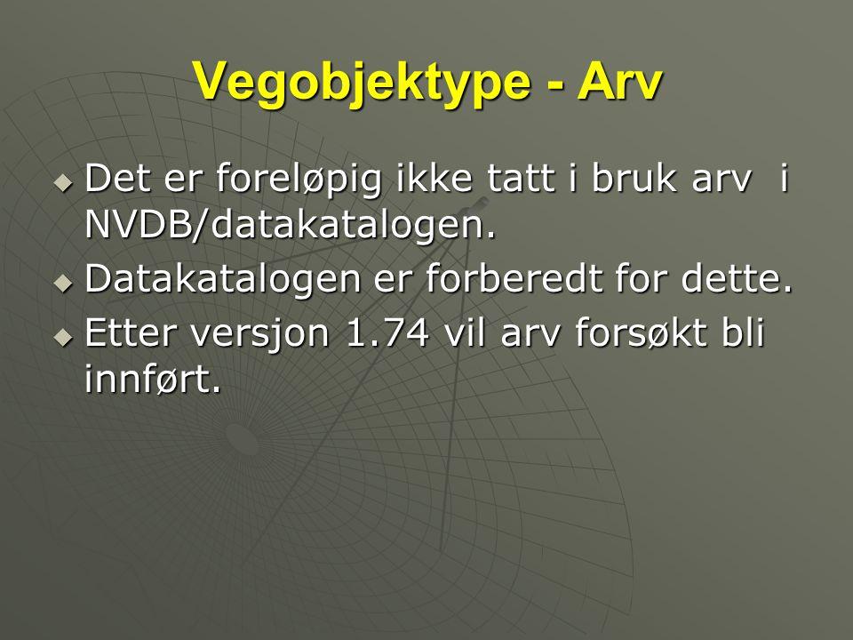 Vegobjektype - Arv  Det er foreløpig ikke tatt i bruk arv i NVDB/datakatalogen.  Datakatalogen er forberedt for dette.  Etter versjon 1.74 vil arv