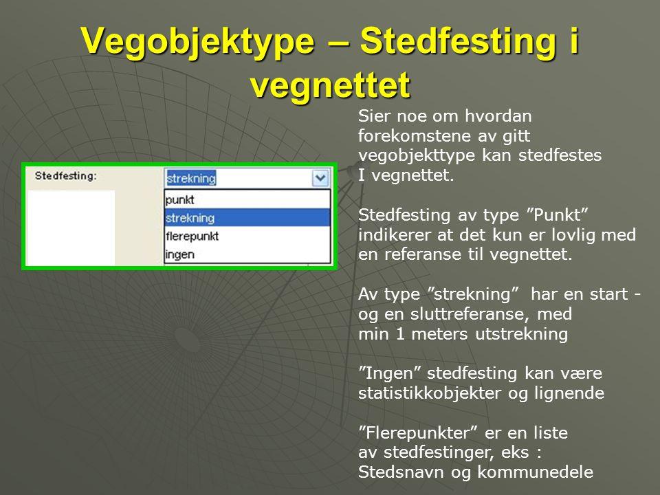 Vegobjektype – Stedfesting i vegnettet Sier noe om hvordan forekomstene av gitt vegobjekttype kan stedfestes I vegnettet.