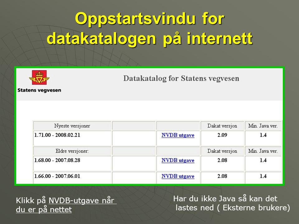 Oppstartsvindu for datakatalogen på internett Klikk på NVDB-utgave når du er på nettet Har du ikke Java så kan det lastes ned ( Eksterne brukere)