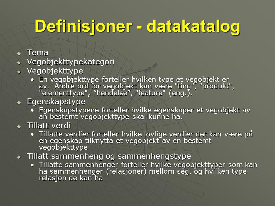 Definisjoner - datakatalog  Tema  Vegobjekttypekategori  Vegobjekttype •En vegobjekttype forteller hvilken type et vegobjekt er av. Andre ord for v