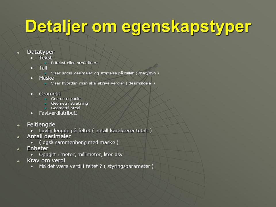 Detaljer om egenskapstyper  Datatyper •Tekst  Fritekst eller predefinert •Tall  Viser antall desimaler og størrelse på tallet ( max/min ) •Maske 