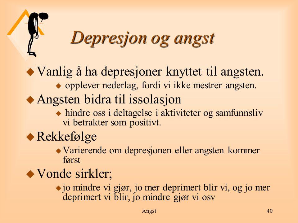Angst41 Depresjon u Person med depresjon vil oftest ha flere av følgende symptomer: søvnvansker u konsentrasjons- og hukommelsesvansker u endret spisemønster (nedsatt appetitt eller trøstespising) u selvbebreidelser u energiløshet og manglende initiativ u manglende interesse for sine omgivelser u følelse av tristhet, mangel på mening, verdi eller håp u smerter i kroppen u tanker om å ta sitt liv