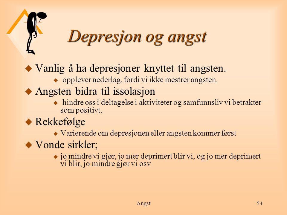 Angst55 Depresjon u Person med depresjon vil oftest ha flere av følgende symptomer: søvnvansker u konsentrasjons- og hukommelsesvansker u endret spisemønster (nedsatt appetitt eller trøstespising) u selvbebreidelser u energiløshet og manglende initiativ u manglende interesse for sine omgivelser u følelse av tristhet, mangel på mening, verdi eller håp u smerter i kroppen u tanker om å ta sitt liv