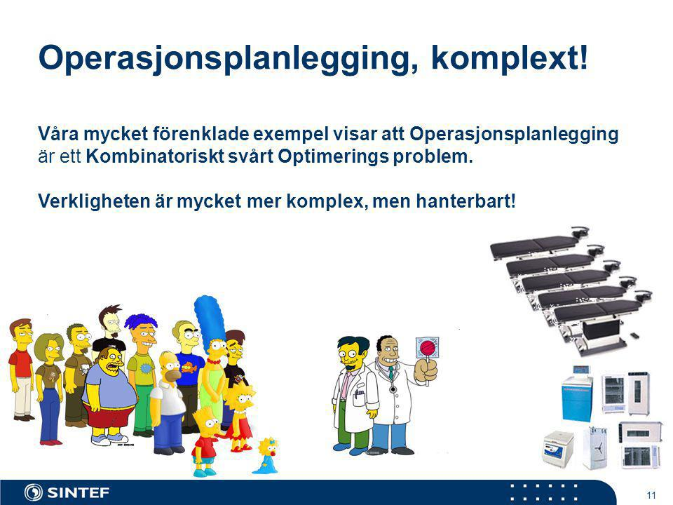 11 Operasjonsplanlegging, komplext! Våra mycket förenklade exempel visar att Operasjonsplanlegging är ett Kombinatoriskt svårt Optimerings problem. Ve