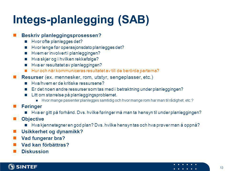 13 Integs-planlegging (SAB)  Beskriv planleggingsprosessen?  Hvor ofte planlegges det?  Hvor lenge før operasjonsdato planlegges det?  Hvem er inv