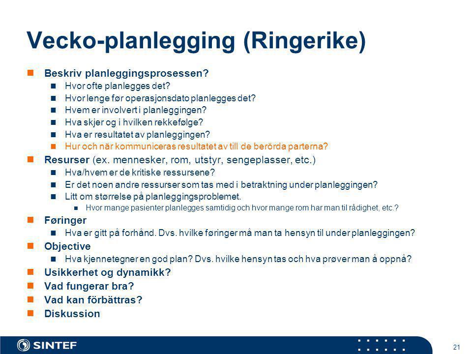 21 Vecko-planlegging (Ringerike)  Beskriv planleggingsprosessen?  Hvor ofte planlegges det?  Hvor lenge før operasjonsdato planlegges det?  Hvem e