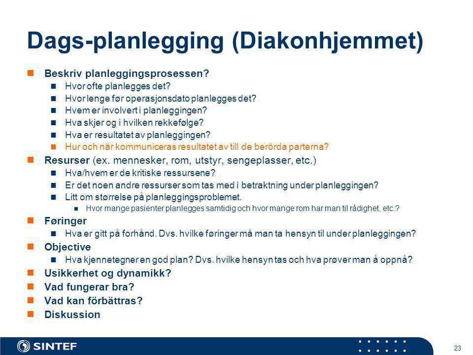 23 Dags-planlegging (Diakonhjemmet)  Beskriv planleggingsprosessen?  Hvor ofte planlegges det?  Hvor lenge før operasjonsdato planlegges det?  Hve