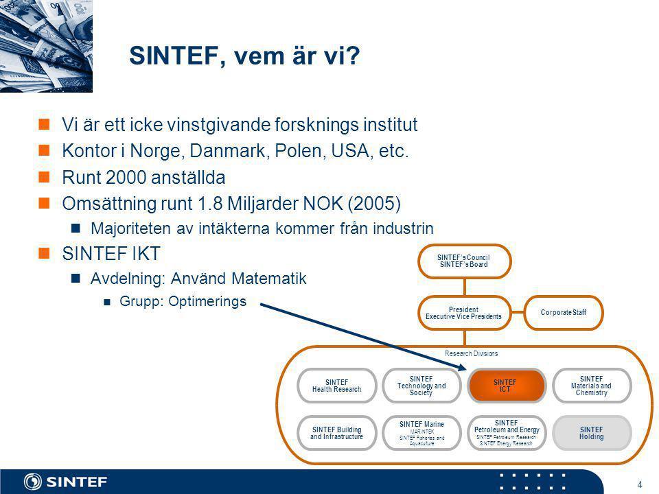 4 SINTEF, vem är vi?  Vi är ett icke vinstgivande forsknings institut  Kontor i Norge, Danmark, Polen, USA, etc.  Runt 2000 anställda  Omsättning