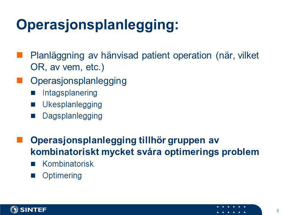 5 Operasjonsplanlegging:  Planläggning av hänvisad patient operation (när, vilket OR, av vem, etc.)  Operasjonsplanlegging  Intagsplanering  Ukesp